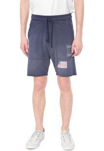 Bermuda Moletom Calvin Klein Jeans Reta Bandeira Azul-Marinho