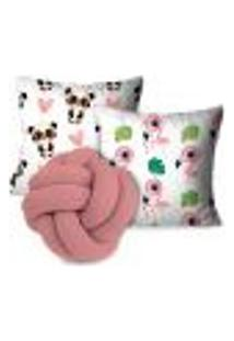 Kit Capas Para Almofadas Cute Animals Com Nó Rose Claro