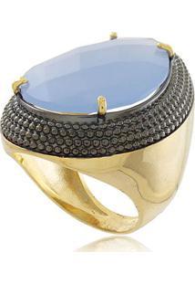 Anel Luxo Gota Com Pedra De Cristal Azul E Detalhe Em Ródio Negro Em Banho De Ouro 18K 15