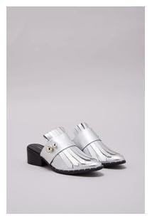 Sapato Loafer Mule Faixa Vitorino Campos Prata