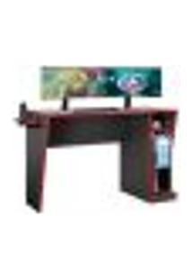 Mesa Gamer Cyber Com Suporte Porta Copos Jcm Movelaria Grafite/Vermelho