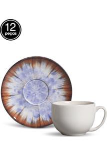 Conjunto 12Pçs Xícaras De Chá Porto Brasil Coup Iris Azul/Branco/Marrom