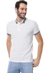Camisa Polo Colcci Reta Listras Branca