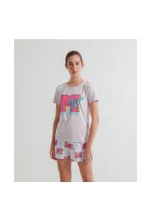 Pijama Curto Estampa Mtv | Mtv | Cinza | M