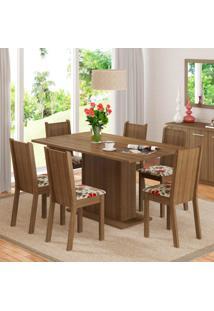 Conjunto De Mesa Com 6 Cadeiras Megan Rustic E Floral Hibiscos