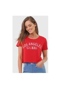 Camiseta Cropped Guess Los Angeles Vermelha