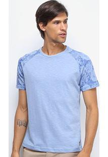Camiseta Canal Surf Camuflada Manga Curta Masculina - Masculino-Azul Claro
