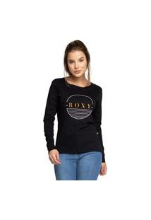 Camiseta Roxy Feminina Manga Longa Casual Conforto Estilo Preto P Preto