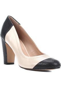 Scarpin Couro Shoestock Salto Alto Snake - Feminino-Preto+Bege