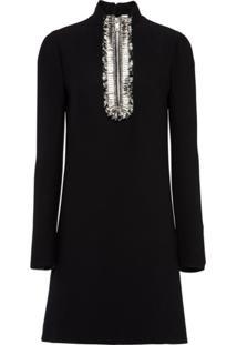 Prada Vestido Com Bordado - Preto
