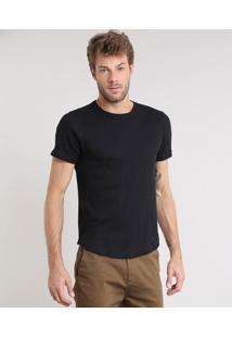 Camiseta Masculina Slim Fit Canelada Manga Curta Gola Careca Preta