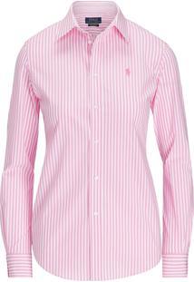 Camisa Polo Ralph Lauren Slim Stretch Stripe Rosa/Branca