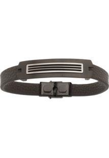Bracelete De Aço Inox Tudo Jóias Com 13Mm Black