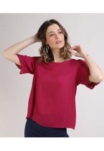 Blusa Feminina Com Recorte Manga Curta Decote Redondo Rosa Escuro