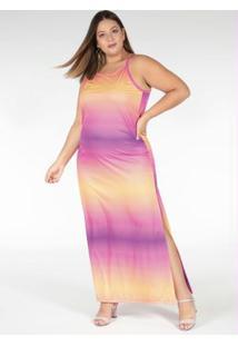 Vestido Longo Tie Dye Com Alcinhas Plus Size