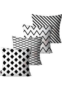 Kit Com 4 Capas Para Almofadas Decorativas Branco Geométrico 45X45Cm