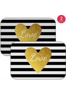 Jogo Americano Love Decor Love Branco/Preto/Amarelo - Kanui