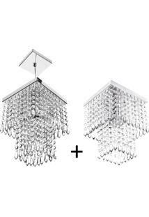 Kit 2 Em 1 Para Sala Pendente E Plafon De Cristal Acrilico - Prata - Dafiti
