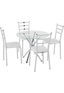 Conjunto Mesa Tampo Vidro C/ 4 Cadeiras Vinil Branco/Cromado Pozza - Tricae