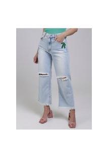 Calça Jeans Reta Destroyed Feminina Azul