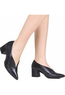 Sapato Scarpin Zariff Em Corte V Salto Grosso Preto