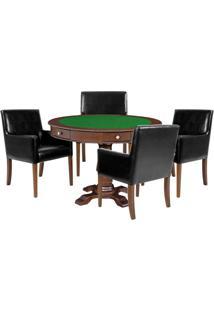 Mesa De Jogos Carteado Victoria Redonda Tampo Reversível Imbuia Com Kit 4 Cadeiras Liverpool Corino Preto Liso - Gran Belo