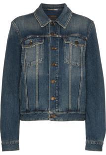 Saint Laurent Jaqueta Jeans Com Estampa - Azul