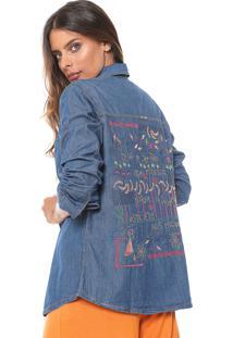 Camisa Jeans Cantão Bordado Azul