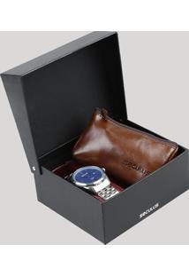 Kit De Relógio Analógico Seculus Masculino + Kit Engraxate - 28862G0Skna1K1 Prateado - Único