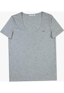 Camiseta Lacoste Em Jérsei Cinza - Kanui