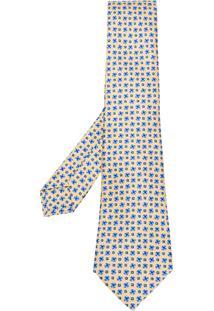 Kiton Gravata De Seda Estampada - Amarelo E Laranja