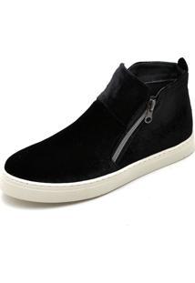 Bota Botinha Top Franca Shoes Hiate Veludo Preto