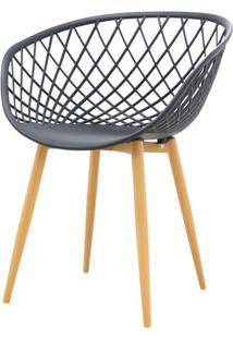 Cadeira Clarice Assento Em Polipropileno Preto Com Base Palito Cor Madeira - 45018 - Sun House