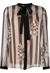 Twin-Set Sheer Striped Print Blouse - Neutro