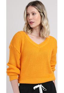 Suéter De Tricô Feminino Amplo Decote V Mostarda
