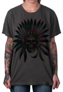 Camiseta Artseries Caveira Índio Cacique Colorida Cinza