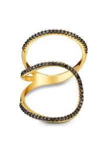 Anel Link Ouro Amarelo Diamantes Negros Grande