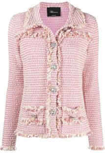 Blumarine Jaqueta De Tweed Com Franjas - Rosa