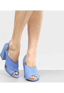 Sandália Couro Capodarte Salto Grosso Cruzada Feminina - Feminino-Azul Royal