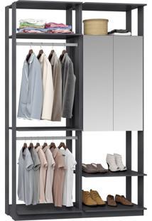 Closet 2 Portas Espelhadas 2 Cabideiros 9015 Espresso - Bentec