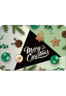 Tapete Sala Love Decor Merry Christmas Preto Verde