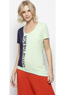 """Blusa """"Out Of The Box"""" Com Recortes- Verde Claro & Azul Be Red"""