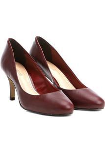 Scarpin Couro Shoestock Salto Médio Básico - Feminino-Bordô