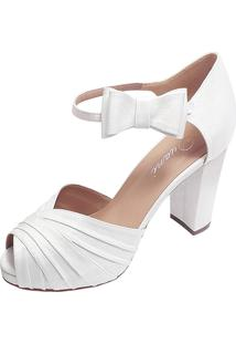 Sandalia De Noiva Branca Meia Pata Salto Alto Branco