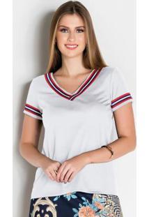 Blusa Branca Com Faixa Moda Evangélica