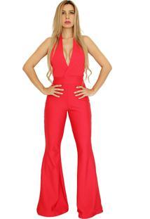 Macacão Dress Code Moda Flare Vermelho