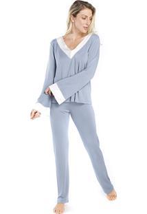 Pijama Feminino De Inverno Azul Com Cetim Off White - Tricae