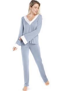 Pijama Feminino De Inverno Azul Com Cetim Off White