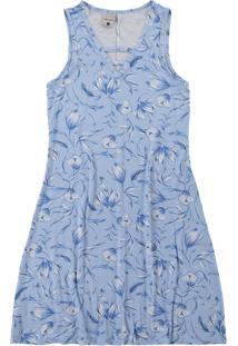 Vestido Azul Claro Evasê Estampado