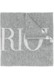 Emporio Armani Echarpe Com Estampa De Logo - Cinza